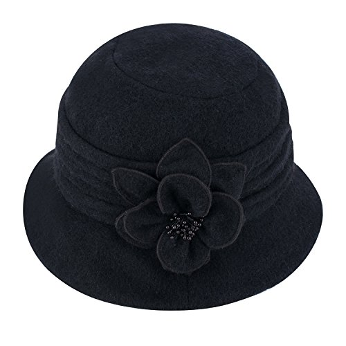 Lawliet Womens Gatsby 1920s Winter Wool Cap Beret Beanie Cloche Bucket Hat A299 (Ladies Black Hat)