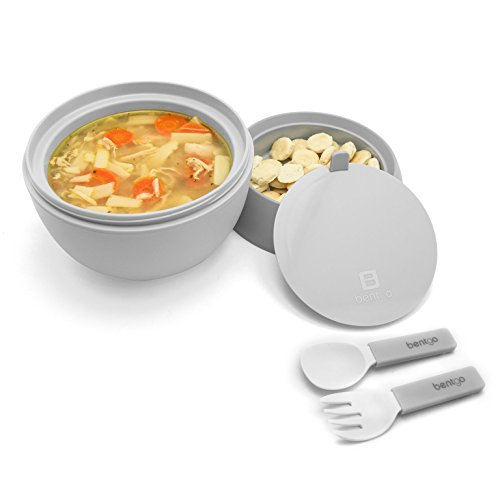 Bentgo Bowl (Gray) - Insulated, BPA-Free Lunch Container with Collapsible Utensils Set - Leakproof Bowl Holds Soups, Stews, Noodles, Hot Cereals & More On-the-Go