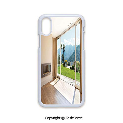 Phone Case Compatible with iPhone X Black Edge Room with Scenic View House Mountains Palm Trees Greenery Garden 2D Print Hard Plastic Phone Case