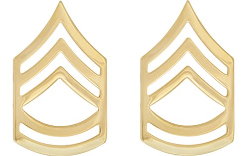 (U.S. Army Metal Pin On Enlisted Rank NON-SUBDUED (SHINY) - 1 PAIR (E7 SFC))