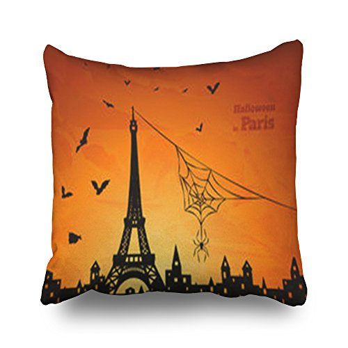 Throw Pillow Covers Halloween Silhouette Paris Spider On Eiffel Holidays Tower Square Size 16 x 16 inches Decorative Pillow Cases Home Decor Zippered Cushion -