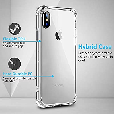 Comsoon iPhone Xs Max Case, [Crystal Clear] [Shock Absorption] TPU Corners Bumper Protection + Scratch-Resistant Hybrid Rugged Transparent Thin PC Back for Apple iPhone Xs Max 6.5 inch 2018