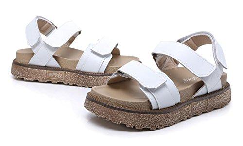 SHFANG Señoras Sandalias Verano Cómodo estilo romano Ocio Estudiantes Compras Parte Tres Colores 5cm White