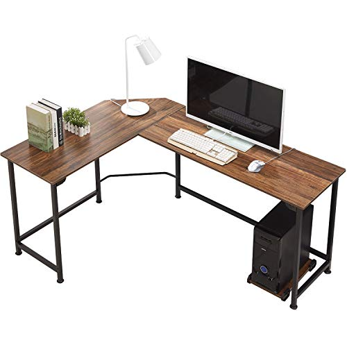 Modern L-shaped Desk (VECELO Modern L-Shaped Corner Computer Desk with CPU Stand/PC Laptop Study Writing Table Workstation for Home Office Wood & Metal, Dark Walnut)