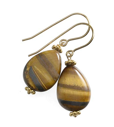 (14k Yellow Gold Filled Tiger's Eye Earrings Dainty Golden Striped Smooth Teardrops Dangles Goldtone Accents)