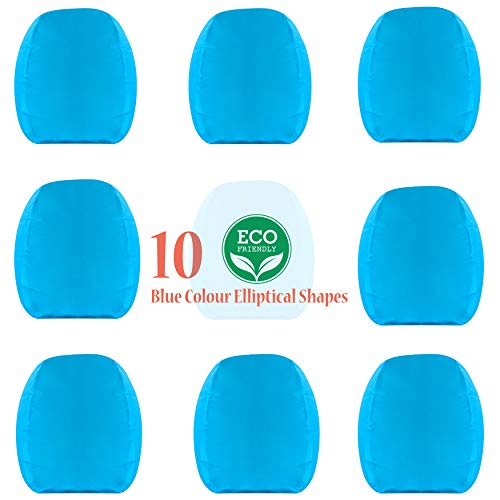 Chinese Kongming Sky Flying Lanterns 10 Pack Blue Colour Elliptical Shapes - Biodegradable and Eco Friendly