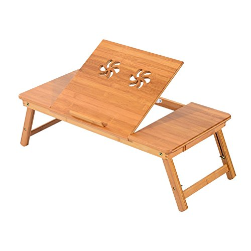 HomCom Adjustable Bamboo Laptop Tray with (Old School Lap Desk)