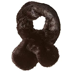 Orchid Row Women's Fashion Fuax Fake Fur Pull Thru Scarf Shawl for Winter Coat