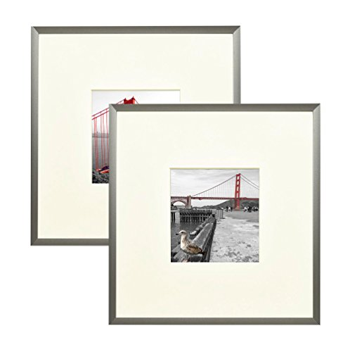 Frametory Square Metal Frame Collection Set of 2-8X8 Silver Picture Frame - Made to Display Pictures 4X4 Photo with Ivory Color Mat - Thin Molding Real Glass - Built in Hanging Features -