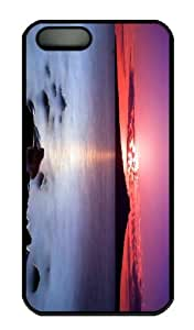 iPhone 5S Case - Customized Unique Design Sunset On The Beach New Fashion PC Black Hard by lolosakes