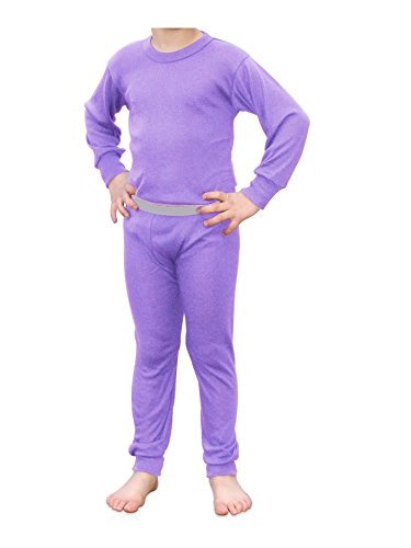 Indera Youth Performance Rib Knit Thermal Underwear Shirt and Pant Set with Hydropur, Lilac, Medium by Indera
