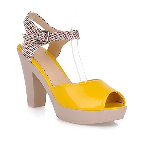 AmoonyFashion Womens Open Peep Toes High Heel Platform Patent Leather PU Sandals with Assorted Colors Yellow ggGZPORLad