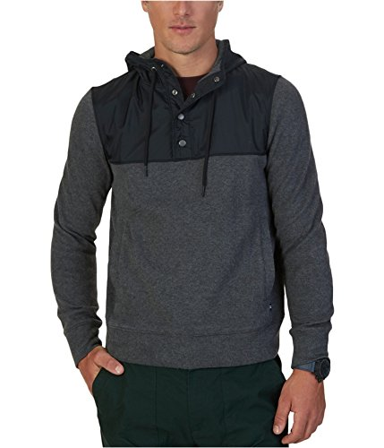 Nautica Men's Half-Snap Hoodie, Charcoal Heather, M -