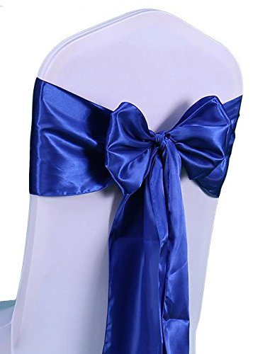 RDS 25 Satin Chair Cover Bow Sashes 6 X 108 Inch For Wedding & Venue Decoration - Royal -