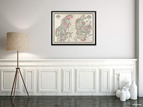 en, Norway and Denmark Map|Historic Antique Vintage Reprint|Size: 18x24|Ready to Frame ()