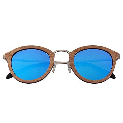 Metal Marco Gafas de Moda Brown bisagra Madera vidrios Redondo Unisex Mezzanine de SunglassesMAN Color Blue polarizadas Cómodos Yxsd FExpwqfcP