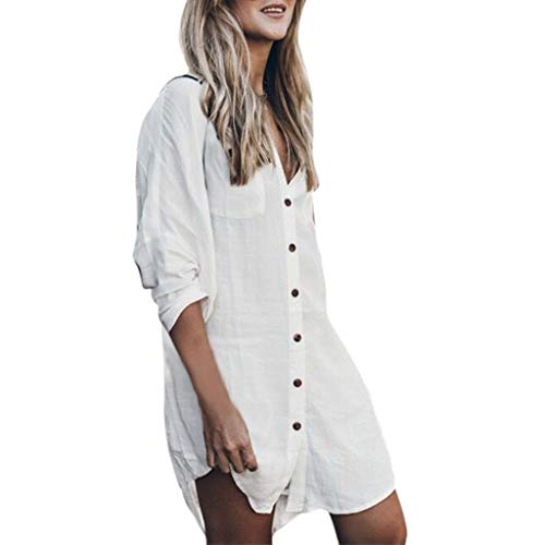 Find Bargain Ghazzi Women Dress Button Down Pockets Shirt Dress Solid Tunic Mini Dress Sundress Part...