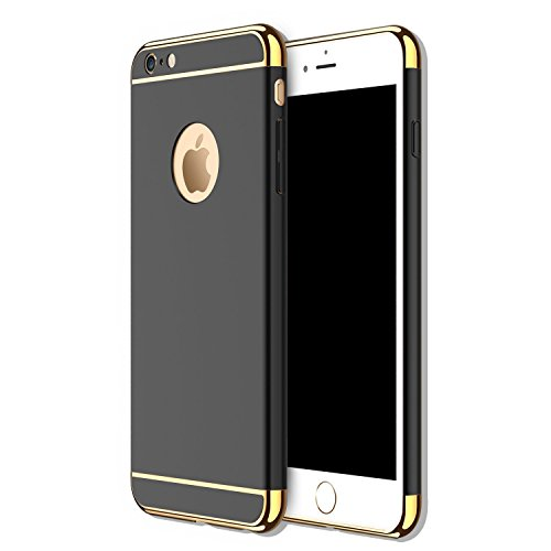 Iphone 5s Costume (iPhone 5 5S SE 3 in 1 Hard Case, Anyos Electroplate Ultra-thin Shockproof Protective PC Cover for iPhone 5 5S SE 4.0 inch (Black))