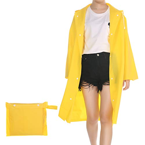 (UNIQUEBELLA Clear EVA Raincoat Women Waterproof Rain Ponchos Long Rainwear Packable Lightweight Hooded Raincoat for Travel Fishing Daily Use - Yellow (L))