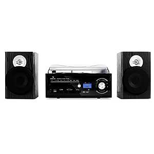 Auna TT-190 Microcadena Sistema estéreo - Reproductor de vinilos por Correa , Tocadiscos máx. 45 RPM , Radio FM , Ranuras USB/SD , Digitalización , ...