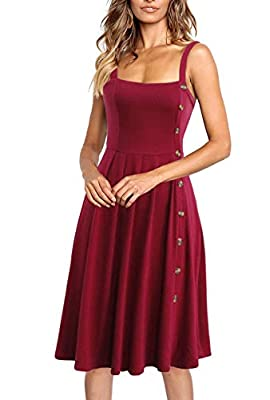 Lyrur Women's A-Line Sleeveless Cotton Pleated Casual Party Spaghetti Straps Buttons Down Flared Midi Skater Dress
