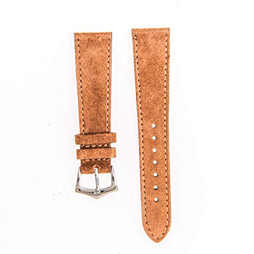 - Milano Straps Brown Watch Strap - Made of Suede Leather - Fine Tribal Stitches - Yellow Gold Polished Buckle - Replacement Watch Band - Perfect for Men & Women, 20mm