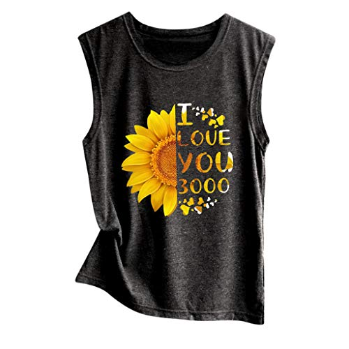 HIRIRI Sunflower Print Vest Sleeveless Casual Basic Tops O-Neck Loose Soft Shirt D-Black ()