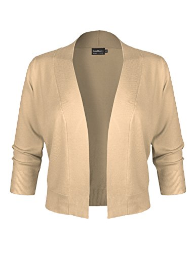 BASIC & BASIC+ BBP Classic 3/4 Sleeve Open Front Cropped Bolero Cardigan Khaki M ()
