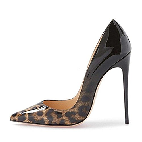 Wedding Party Dress Women Leather Shoes Stiletto Leopard for Closed MIUINCY Heels High amp; Toe Pumps Black Patent Pointed 7wxO6xdPq