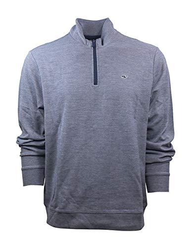 Vineyard Vines Men's Broadfield 1/4 Zip Solid Sweater (XS, Deep Bay)