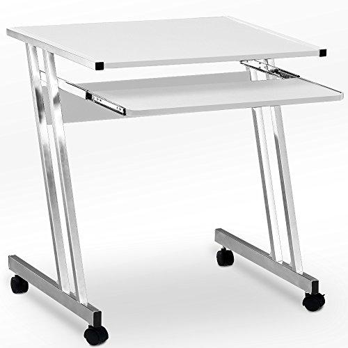 Computertisch in Weiß mit Aluoptik Farbauswahl Computerwagen Computertisch Bürotisch PC Tisch Rollbar