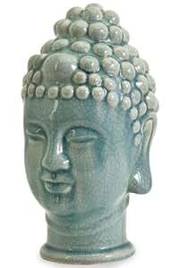 """Taibei Ceramic Buddha Head, 11.5""""Hx7.25""""W, BLUE"""