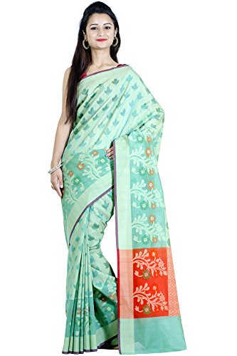 Chandrakala Women's Sea Green Cotton Blend Banarasi Saree,Free Size(1085SEA)
