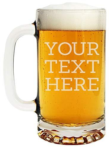Personalized Etched Custom Message 16oz Glass Beer Mug (Dab Beer Mug)