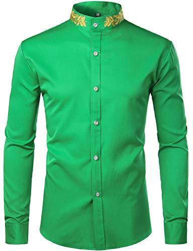 ZEROYAA Mens Hipster Gold Embroidery Mandarin Collar Slim Fit Long Sleeve Casual Dress Shirts Z52 Shamrock Green X-Large