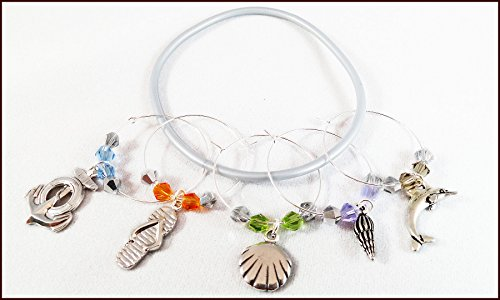 (Beach Wine Charms - Beach Gifts - Nautical Glass Identifiers - Shell Glass Tags - Glass Markers - Anchor, Dolphin, Shells, 5 wine charms)