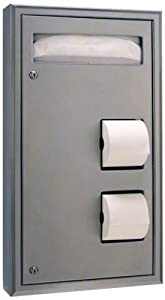 "Bobrick 3574 ClassicSeries 304 Stainless Steel Recessed Seat Cover, Sanitary Napkin Disposal and Toilet Tissue Dispenser, Satin Finish, 16"" Width x 29-1/4"" Height"