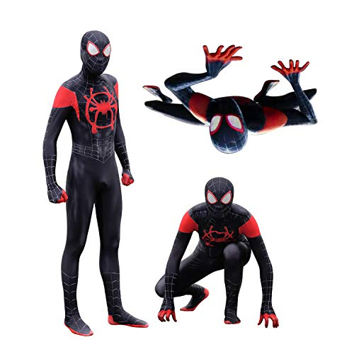 (MYanimec Unisex Lycra Spandex Halloween New into The Spider Verse Miles Morales Cosplay Costumes Adult/Kids 3D Style (Custom Size))