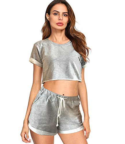 Upgrade Casual Crop Top and Short Set Short Sleeve Two Piece Soft Tracksuit with Pants (Grey, S)