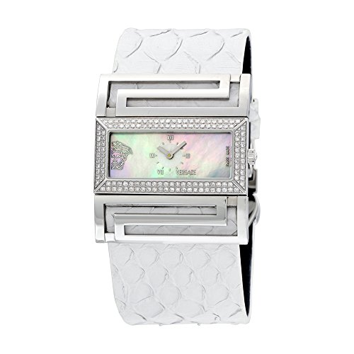 Versace Deaville Mother of Pearl Dial Diamond White Python Leather Ladies Watch VSQ91D001-S001P