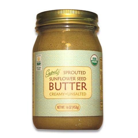 Gopal's Organic Raw Sprouted Sunflower Seed Butter (Creamy and Unsalted) - 16 Ounces Glass Jar | Keto, Whole 30, and Paleo Friendly Almonds 16 Oz Jar