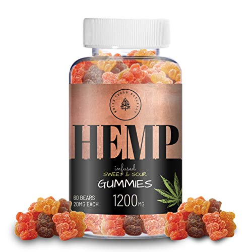 Organic Hemp Oil Extract Gummies - 1200MG (20MG/Gummy) Can Help Relieve Pain, Stress & Anxiety - Better Sleep - Made with Organic Colorado Hemp, Rich in Omega 3-6-9 & Vitamin E, Non-GMO, Vegan.