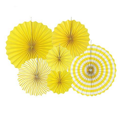 Deruicc Yellow Party Hanging Paper Fans Set, Round Pattern Paper Garlands Decoration for Birthday Wedding, Set of 6 - Yellow Pinwheel