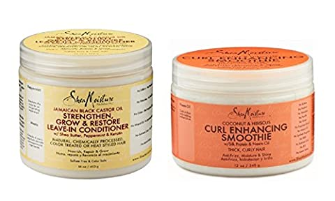 Shea Moisture Conditioner Combination Pack – 16 oz. Strengthen, Grow & Restore Leave-In Conditioner & 12 oz. Coconut & Hibiscus Curl Enhancing Smoothie