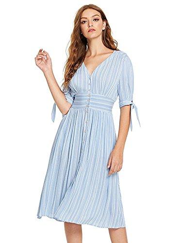 Milumia Women's Tie Cuff Button up Casual Deep V Neck Short Dress Small Blue