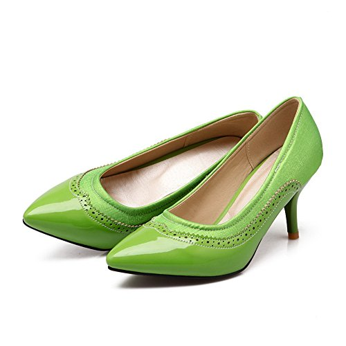 green balamasa pumps Mesdames enfiler à cuir Hollow verni Out shoes qzwpRCq