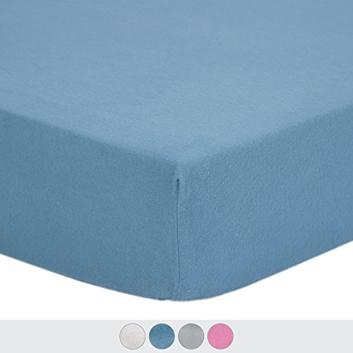 TILLYOU Flannel Fitted Crib Sheet for Baby Boys, Ultra-Soft and Warm, 100% Premium Cotton, Fits Standard Cribs or Toddler Mattresses, 28x52 Blue