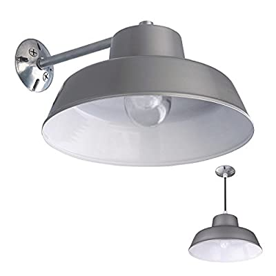 1 Light Barn and Garage Ceiling Wall Mount All Weather Exterior Vintage Light, Grey