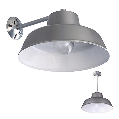 1 Light Barn and Garage Ceiling Wall Mount All Weather Exterior Vintage Light, Grey (Vanity Light Barn)