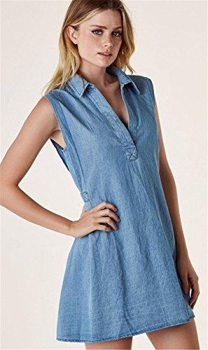 Moda Sin Mangas Cuello Escote Triangular en V Denim Jean Shirt Minivestido Mini de Corte A Line Dress Vestido Azul Azul